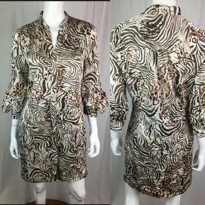 Bebe Leopard Silk Button Zebra Puff Shirt Dress